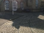 Rail tracks in the courtyard