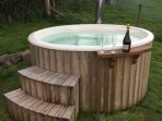 Wood fired hot tub, perfect for relaxing in whilst enjoying the panoramic views!