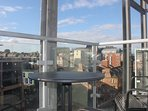 A sunny, west-facing balcony leads off the lounge and has views over the rooftops of Newcastle