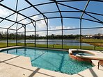 The pool enjoys stunning lake side views.