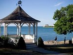 Waterfront gazebo and view of Old Fort Niagara in the USA