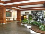 Lobby with waterfall and koi pond