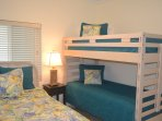 Guest room with Queen bed and bunks