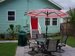 Large outdoor patio with gas BBQ for entertaining.