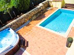 The Generous Rear Terrace With 8m x 4m Pool & Large Infinity Hot Tub