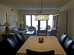 A view into the updated dining room and living room with our favorite manatees.