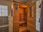 Sweat out your toxins in the 2-person sauna.