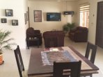 Canadian satellite TV, comfortable seating and dining area for 4