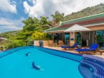 Large pool , totally private and secluded with great Ocean and Sunset views