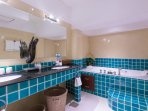 Master bathroom has double Jacuzzi Bath and walk in shower area.