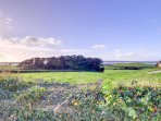 The property has views over the surrounding farmland to the sea