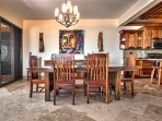 Gorgeous dining table and chairs crafted of Belizean hardwoods - seats 8