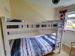 The third bedroom has full sized bunk beds