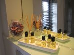 Complimentary toiletries to indulge after a busy day.