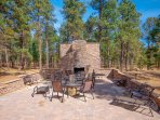 Front Lawn.17' tall outdoor  Fireplace w large stone patios and outdoor