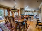 8-Chair dining room table. Spacious kitchen.