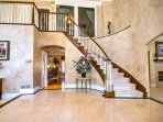 Front Entrance,Main level stair case ,Marble Floor,  White Carpet ,Only15 stairs
