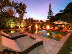 Poolside Sunset Skies and romantic firepits