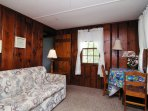 Love seat folds out to twin bed