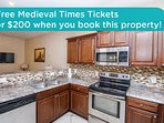Get free Medieval Times tickets or a $200 prepaid gift card when you book this property!