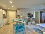 The open floor plan makes it easy to socialize.