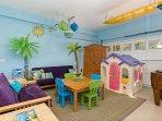 Playroom!  Foosball, Legos, Doll house, Thomas the Train tracks, Books