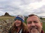 Owners Gary & Val enjoying Holy Island