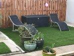 Garden sunbathing area