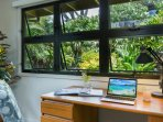 Office area in Bonus living room, with beautiful garden views.