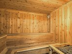 You'll love having a sauna session to relax your muscles after a long hike.