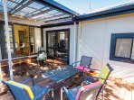 Outdoor terrace, BBQ and huge fully fenced back yard - perfect for children, pets and boats.