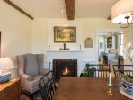 Dining Room with Wing Back Chairs for Reading, Propane Fire Place