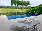 Relax in your private pool and watch golfers on the second tee!