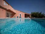 The Languedoc gets 300 days of sunshine every year, so the pool's solar heating heats it to 30 deg