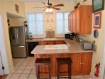 Fully equipped kitchen with full size major and small appliances.