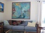 Living Room with original art work.
