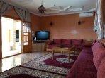 Salon avec cheminée et TV chaîne satellite