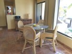 Dining area and sliding glass door onto the porch.