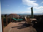 Large deck with bbq and views over the Forth River to Edinburgh