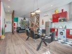 open plan kitchen/dinning/living room