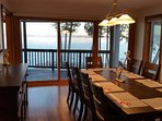 Panoramic lake views in dining room that seats 10