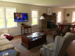 large living space with TV and internet service.