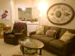 Condo #2. Queen Size Memory Foam Sleeper Sofa and Leather Recliner.  Beautiful and comfortable!