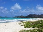 You will be just steps to Kailua Beach.  One of the top 10 beaches in the World!