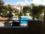 Balcony overlooking the pool area