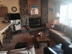 Living area with a 42' flat screen TV with HD and DVR and DVD Player.