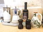 Coffee maker and our own olive oil