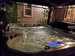 Hot tub in backyard