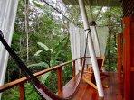 Relaxing hammock on veranda