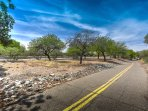 Bike path next to house leads from Davis Monthan Air Force Base to Downtown